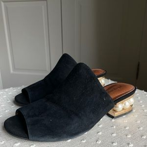 JEFFREY CAMPBELL | suede slides with pearl heel
